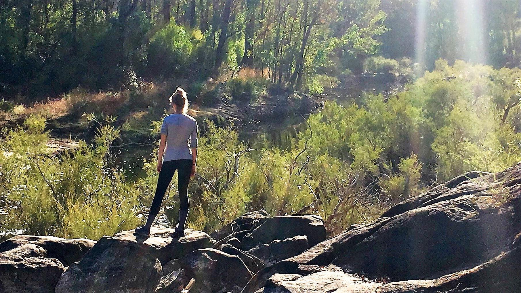 Sarah on the Bibbulmun Track enjoying the silence