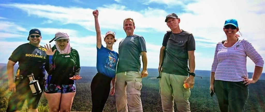 Happy group of day hikers