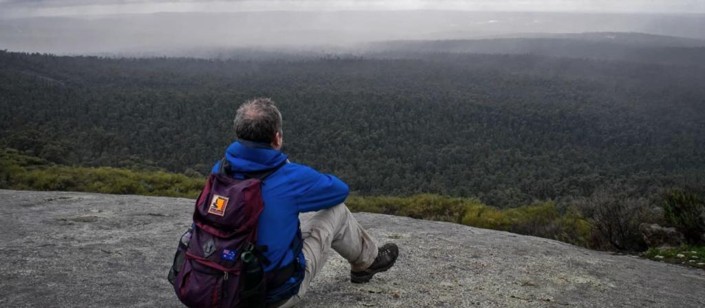 Didier on Mt Cooke during Bibbulmun Track hike